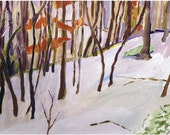 """Snow Painting on canvas, Original Art, Winter Landscape, 9 x 12"""" Woods Forest Trees"""