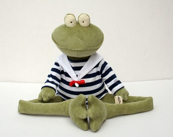 Green Sailor Frog stuffed plush toy
