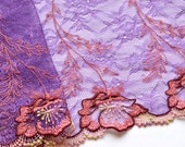 Purple Chantilly Lace Trim, Violet and Dark Coral Lace, Purple Floral Lace Trim, Couture Sewing, Chantilly Lace