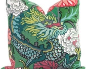 Jade Schumacher Chiang Mai Dragon Decorative Pillow Covers, Toss Pillow, Accent Pillow, Throw Pillow, Pillow sham