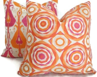 Kravet Couture Orange and Pink Polygon Decorative Pillow Cover 18x18, 20x20, 14x20 or 12x24 Throw Pillow, Accent Pillow