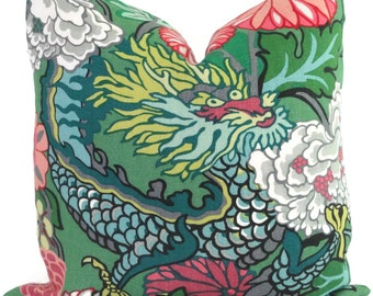 Jade Schumacher Chiang Mai Dragon Decorative Pillow Covers, Toss Pillow, Accent Pillow, Throw Pillow, Pillow sham