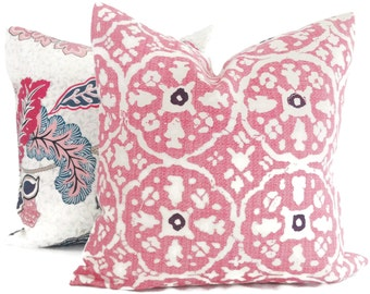 Nitik Large Quadrille China Seas Rose Pillow Lumbar Pillow