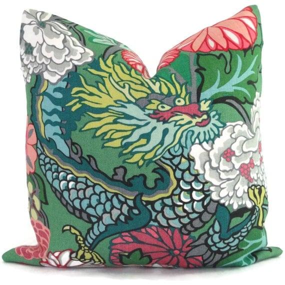 Jade Decorative Pillows : Jade Schumacher Chiang Mai Dragon Decorative Pillow Covers