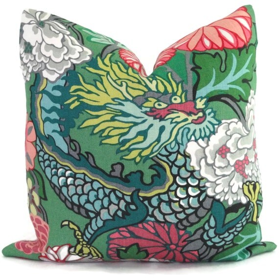 Jade Schumacher Chiang Mai Dragon Decorative Pillow Covers