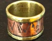 Mixed Metal Abstract Texture Ring