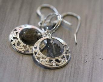 Tiny Iridescent Labradorite Ornate Silver Filigree Drop Earrings