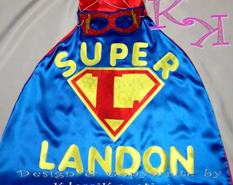 1 PERSONALIZED SUPERHERO Cape & Mask superhero! Great Birthday Party Gifts!