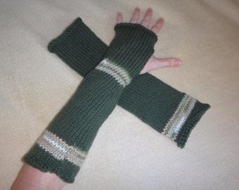 Dark Green Camouflage Long Fingerless Gloves