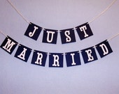 mini Just Married garland car sign golf cart banner photo prop navy and white wedding decor
