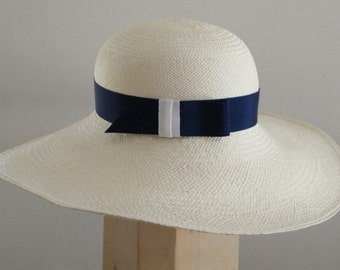 white straw hat Amal Clooney style / chapeau paille / long brim Panama summer hat / off white sun hat / large ladies' hat U.K