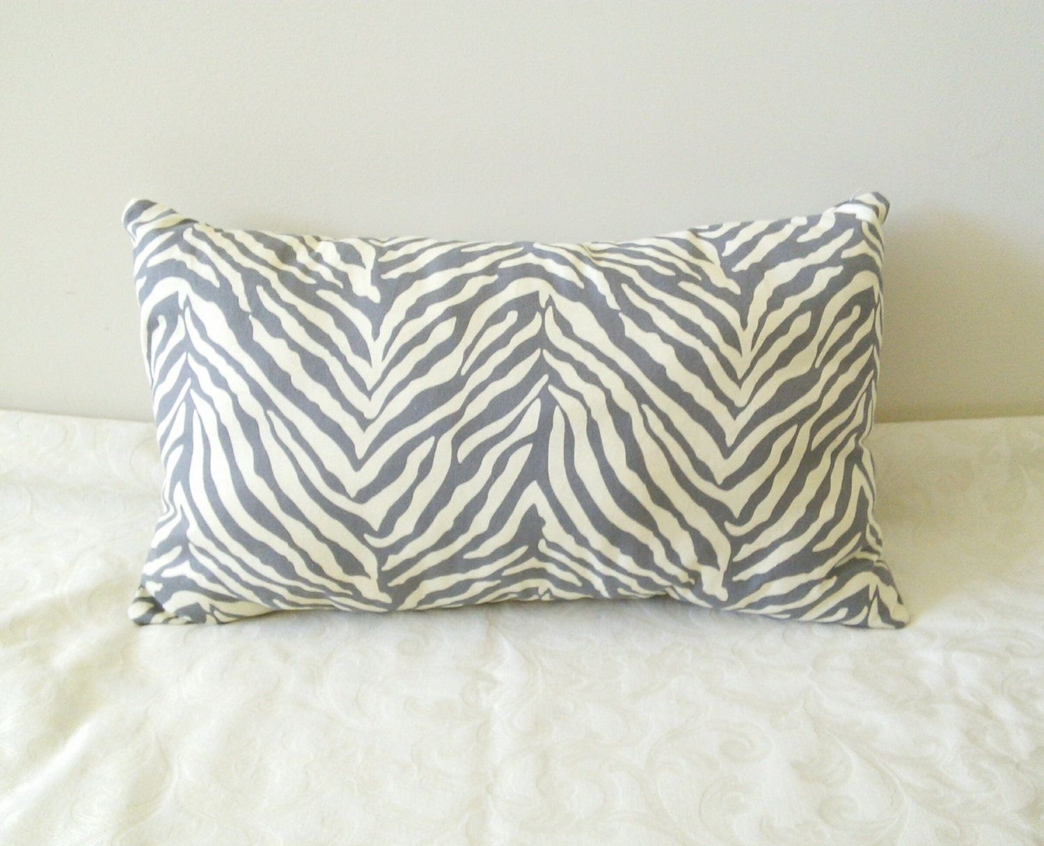 Zebra Decorative Pillows : Gray Zebra Throw Pillow by HHandPinwheels on Etsy