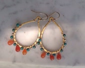 Golden Carnelian Turquoise Teardrop Earrings