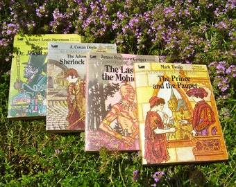 4 Vtg Children Story Books With Illustrations, 80's Edition, Last of the Mohicans, Sherlock Holmes, Dr Jekyll Mr Hyde, Prince And Pauper
