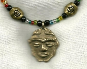 African Mask with Spiral Beads necklace - One of a Kind