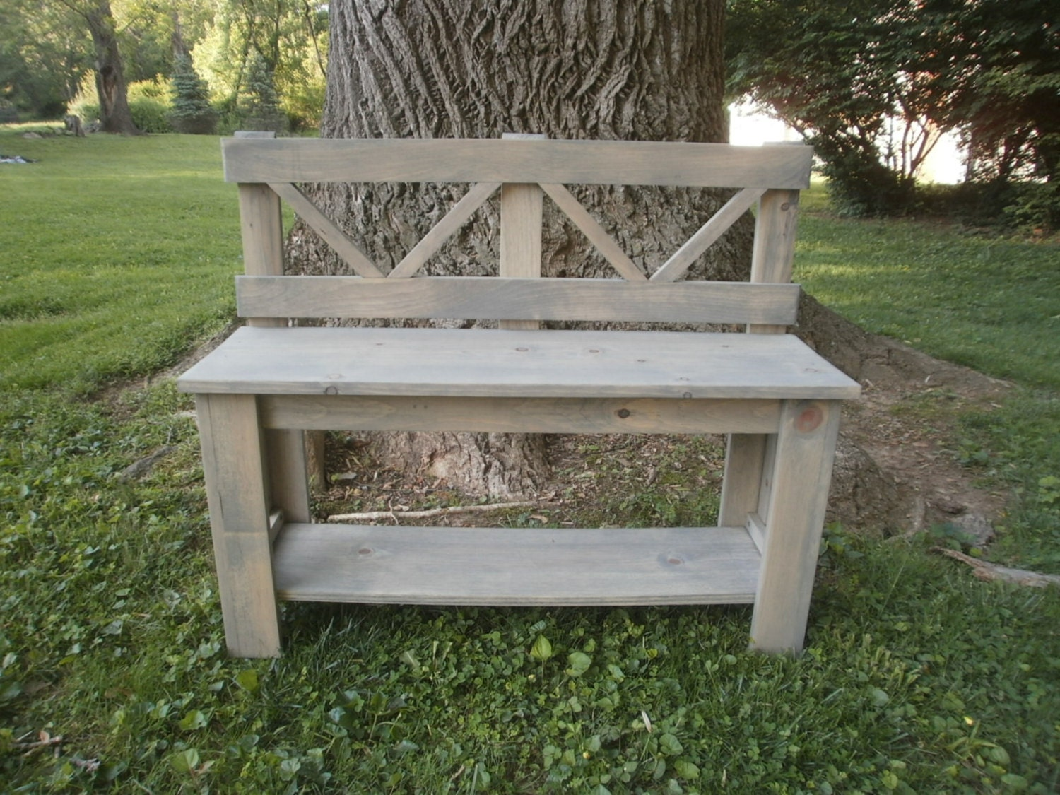Rustic Wooden Foyer Bench : Wooden bench rustic entryway by oldwoodworkershack