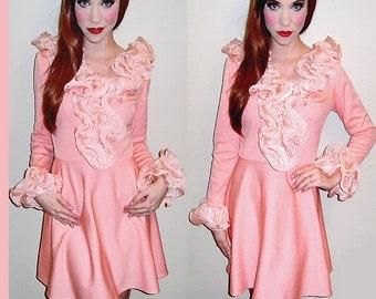 Sale!! VTG 60s RARE Twiggy Mod Peach Ruffle Babydoll Dolly Party PRINCESS Mini Dress S