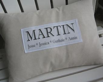 Family Name Pillow, Handmade, Established Date,Custom Family Pillow,Wedding, Anniversary, Housewarming, Beige Pillows, Ivory, Abundant Haven