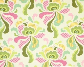 18 x 20 LAMINATED cotton fabric (similar to oilcloth) - Freshcut Groovy Olive - Approved for children's products - BPA free