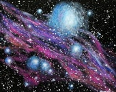 "Galaxy art on 16"" x 20"" stretched canvas, Original acrylic painting, Cosmic art, Unframed art, Office art, Nebula painting, Space art"