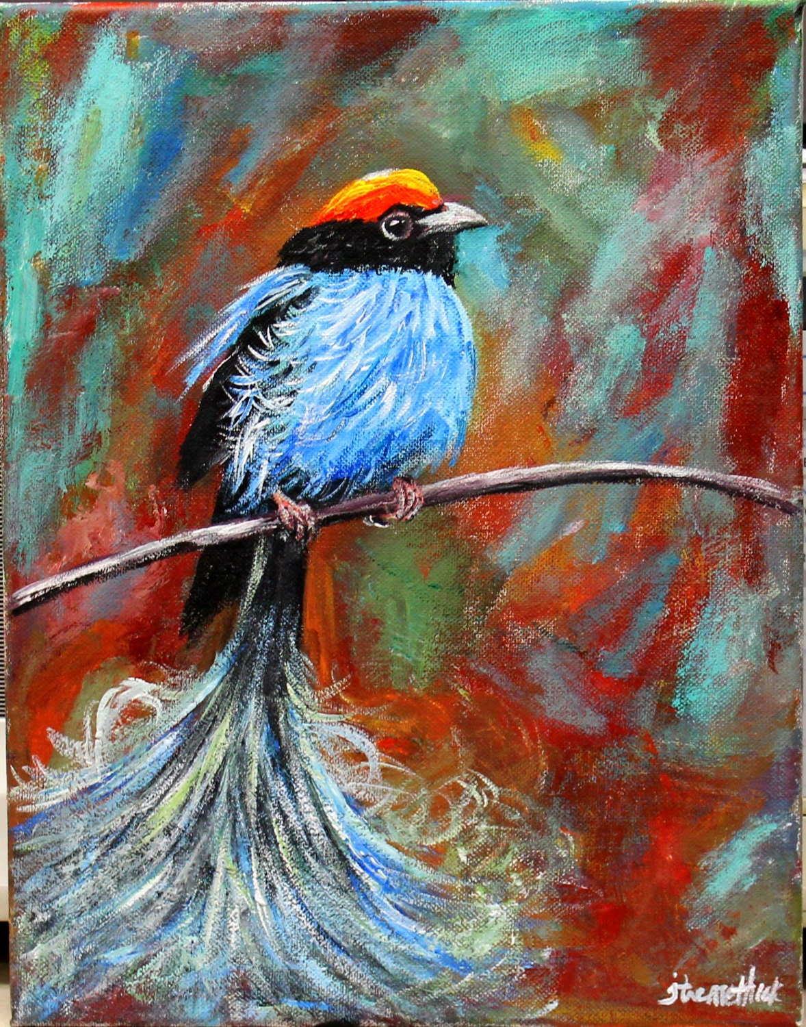 bird painting canvas acrylic art wall art by thisarttobeyours