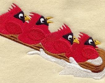 Sledding Cardinals Embroidered Flour Sack Hand/Dish Towel