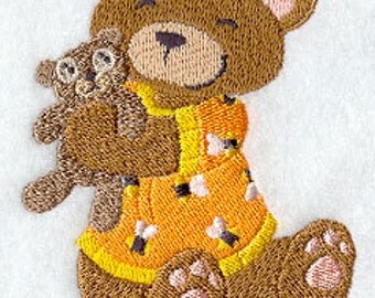 Teddy Bear in PJs with stuffed animal Embroidered Flour Sack Hand/Dish Towel