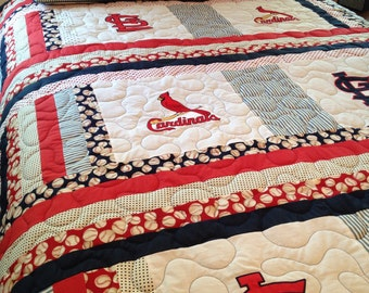 St. Louis Cardinals full size quilt with matching pillow shams