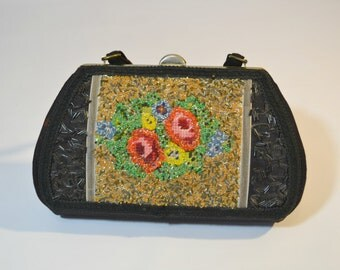 1960s Embroidered and Bead Embellished Handbag by Caron of Houston