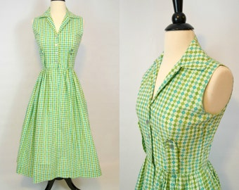 1960s Sleeveless Green Checkered Shirtwaist Fitted Dress by Youth Fair