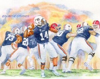 Auburn Football Power Print from a Watercolor Painting by Frank DuBose