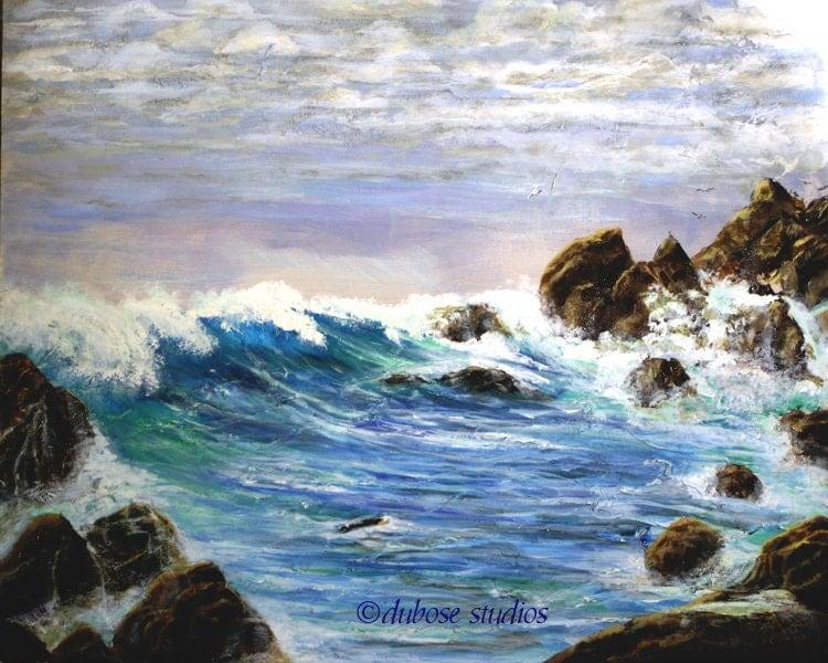 Paesaggio marino dipinto acrilico stampa for Disegno paesaggio marino
