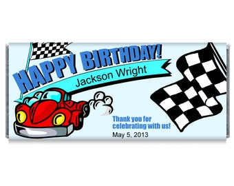 Racing Race Car Birthday Party Candy Bar Wrapper Favors
