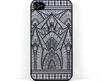 Art Deco iPhone Case, Unique Silver and Black Geometric iPhone 4 5 6 cover, retro vintage plastic iPhone case, stylish cell phone case
