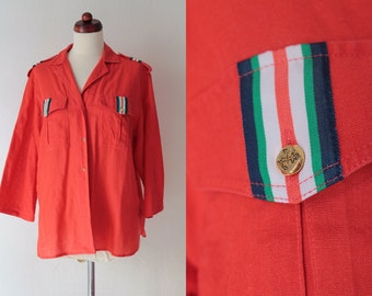Vintage Sailor Blouse - 1980's Red Italian Blouse - Size M