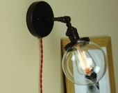 Industrial Wall Sconce Semi Flush Lighting - Hard Wire or Plug In - Clear Glass and Edison Light Bulb - Articulating/Sloped Ceiling/Attics