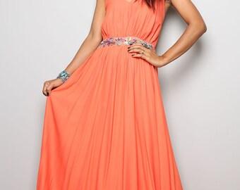 Coral Evening dress - Long Elegant Orange Halter Dress  : Oriental Princess Collection