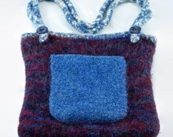 Vintage Felted Wool Handmade Purse - Purple and Blue Shoulder Bag