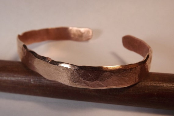 Cuff style hand forged copper bracelet