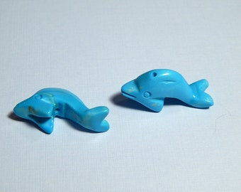 2 Chalk Turquoise Dolphins