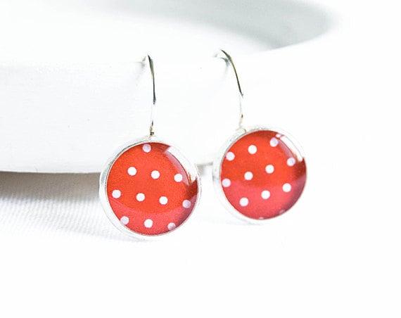 Red polka dot earrings, summer jewelry, bright red earrings