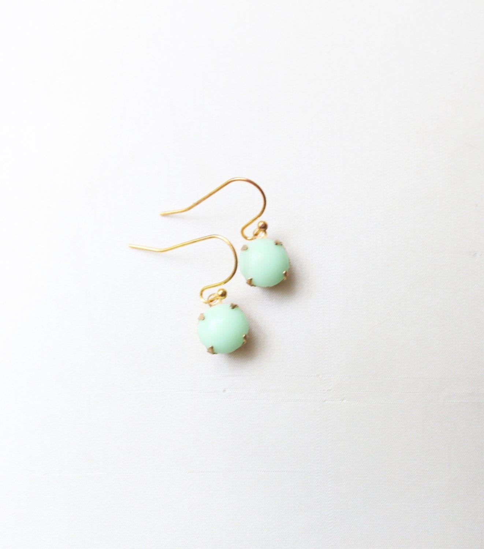 Small Mint Green Glass Cabochon Drop Earrings, Set Stone Earrings, Bezel Earrings, Colored Stone Earrings