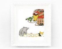 Vintage Babar Print. Original French Book Plate Illustration 7x7 inches. town village Elephants Celeste Paris Jean De Brunhoff