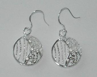 Silver Plated filigree earrings (#449)