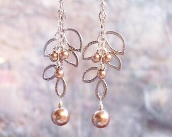 Earrings - Long Bronze Pearls