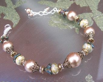 Rustic Bronze Pearl Bracelet