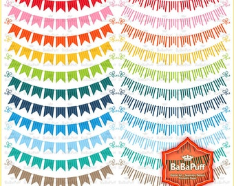 Instant Downloads, Stripe Party Garland Clipart, Rainbow Colors. Personal and Small Commercial Use. BP 0863