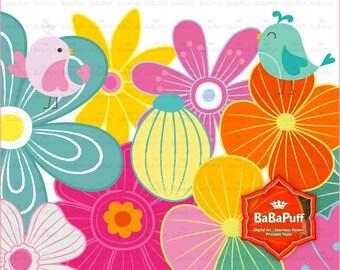 18 Flowers and 2 Birds Clip Art. BP 0906