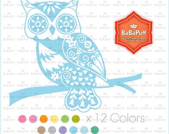 12 Owls Clip Art, For Invitations Cards, Rubber Stamp, Wood Stamp Making, Paper Cut DIY Projects. Personal and Small Commercial Use. BP 0913