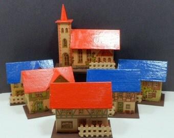 Christmas Large Putz Village Houses Hand Painted x 6 Germany Erzgebirge Christmas